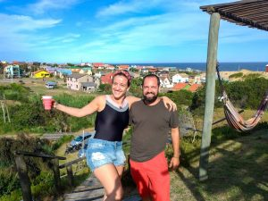 Reencontrando a prima Renata em Punta del Diablo